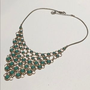 Gold tone and green chain mesh necklace